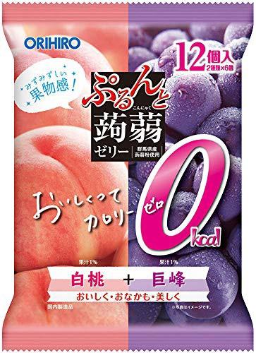 オリヒロプランデュ ぷるんと蒟蒻ゼリーパウチ カロリーゼロ白桃+巨峰 12個入 ×6袋