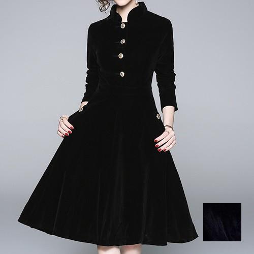 韓国 ファッション レディース ワンピース パーティードレス ひざ丈 ミディアム 秋 冬 パーティー ブライダル naloD347 結婚式 お呼ばれ