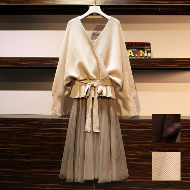 韓国 ファッション レディース セットアップ 秋 冬 春 カジュアル naloG298 ペプラム ゆったり リブ チュールスカート シンプル コーデ