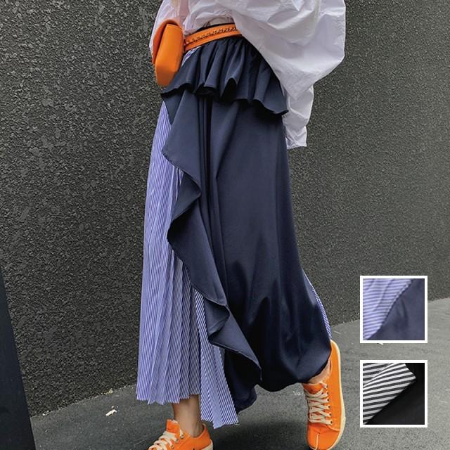 韓国 ファッション レディース スカート ボトムス 秋 冬 春 カジュアル naloG986 ラッフル アシンメトリー ぺプラム プリーツ シンプル