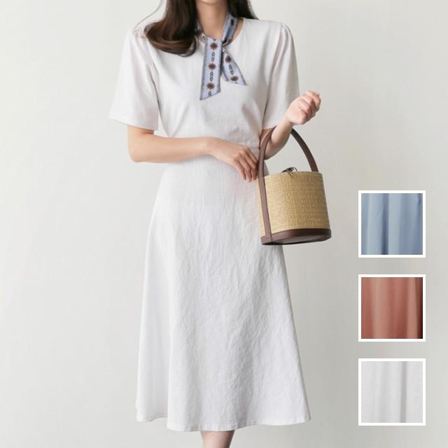 韓国 ファッション レディース ワンピース 夏 春 秋 カジュアル naloH947 淡色 バックリボン フレア シンプル ナチュラル シンプル コー