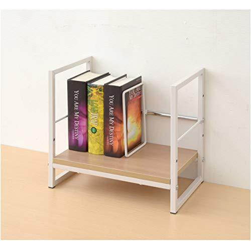 [山善] ブックスタンド (本立て) 卓上 仕切り1枚付き(可動式) 棚下が収納スペースになる 耐荷重25kg 組立品 ウッドナチュラル/アイボリー
