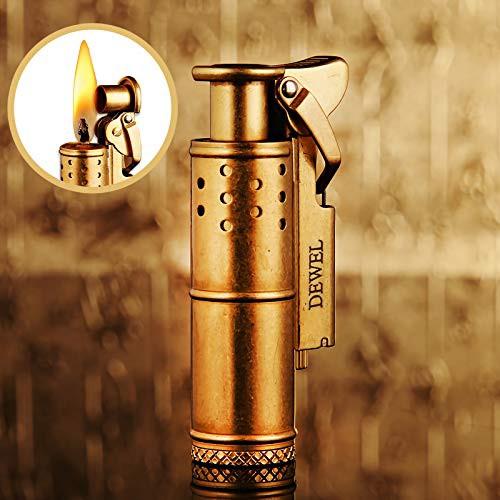 オイルライター DEWEL レトロ 小型 アウトドア 風防カバー付き 屋外使用可 スリム 灯油ライター 着火石付き トレンチ ライター 真鍮製