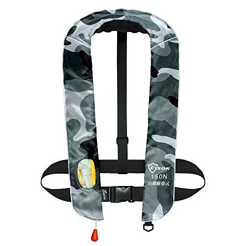 eyson ライフジャケット 自動膨張式 インフレータブル 釣り 首かけベストタイプ救命胴衣 CE認定済