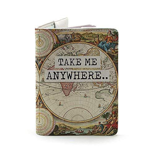 Handmade Curious パスポートケースかわいいカバレッジウォレット海外旅行用高級ホワイトPUレザーパスポートカバー多機能収納ポケット名