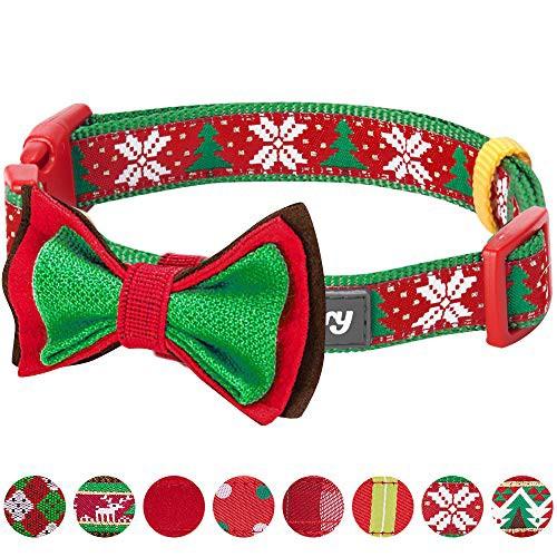 Blueberry Pet(ブルーベリーペット) 犬首輪 クリスマスツリー 雪の結晶 首回り30cm-40cm 小型犬用 取り外し可能なボウタイ付き