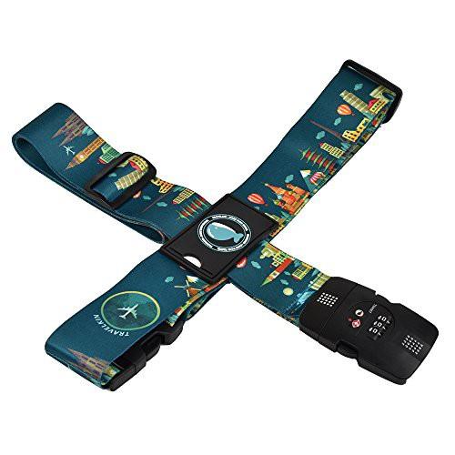 クロース(Kroeus)スーツケースベルト TSAロック 十字型 トランクベルト ワンタッチ 旅行 出張 サイズ調整可 ネームタグ付 盗難防止 カ