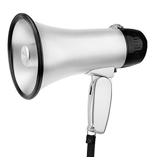 MyMealivos 拡声器 5W 小型メガホン STM-101 サイレン音つき 防災にも (銀色)