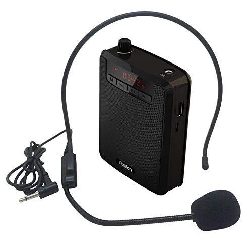 ROLTON ポータブル拡声器 ハンズフリー拡声器 コンパクト 有線ヘッドセットマイク付属 音楽再生/ラジオ放送/拡声対応可能 スピーカーセ