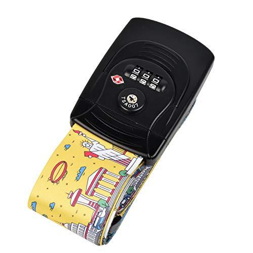 Kroeus(クロース)スーツケースベルト トランクベルト TSAロック搭載 長さ調整可能 荷物ストラップ 固定ベルト 簡単装着 旅行用品 海外