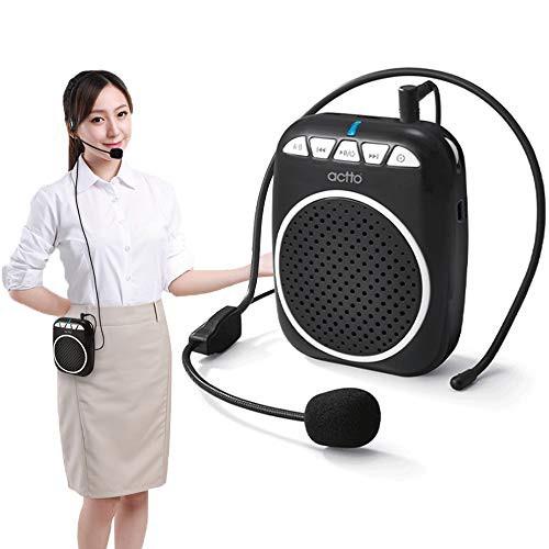 ハンズフリー ポータブル 拡声器 アンプ コンパクト 小型 スピーカー マイク付き 快適 ヘッドセット付き USB音楽再生 区間繰り返し 高音
