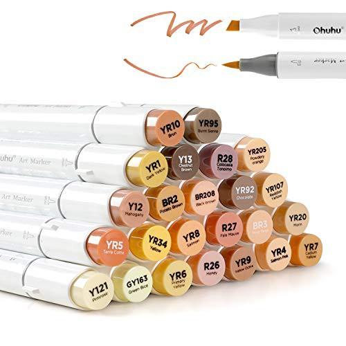 商品名Ohuhu 24色 肌色系 ブレンダーペン付き スキンカラー イラストマーカー 筆先 茶色系 人物を描く アルコールマーカー 筆・太字 イラ