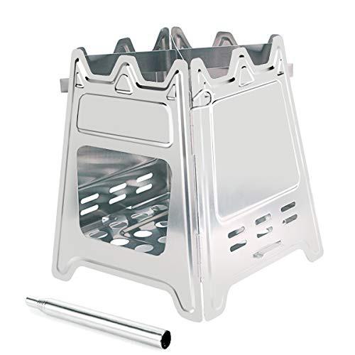 Tlymo ウッドストーブ ミニ焚き火台 コンパクト 留め具ピン構造 折りたたみ式 ステンレス 薪ストーブ 組立簡単 火吹き棒 専用収納バッグ
