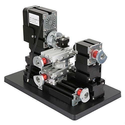 ミニLathe12000Rpm 60W、強力な電動金属加工Lathe12V / DC / 5AマシンDIYツールメタル木工ツール、Hss旋盤工具付き、ベルト保護カバー、