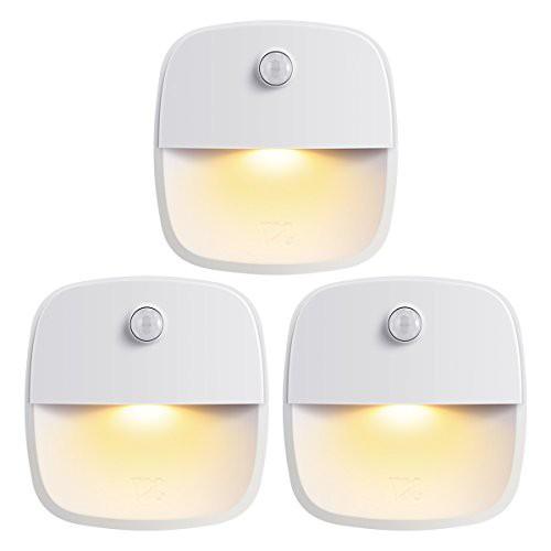 AMIR 人感センサー ライト 電池式 LEDライト 3Mテープ マグネット 磁石付き ナイトライト 室内 ワイヤレス 小型 3個セット ホワイト (ス