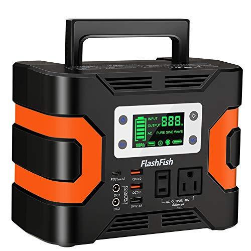 FlashFish ポータブル電源 大容量 81000mAh/300Wh AC(330W 瞬間最大380W) DC(168W) 家庭用蓄電池 タッチボタン設計 小型発電機 USB出力