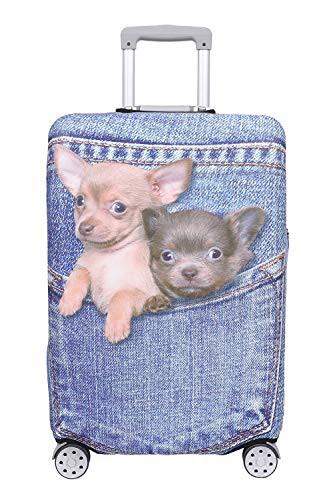 【こもれび屋】スーツケース 保護 カバー かわいい イヌ ネコ デニム トランクケース キャリーケース 伸縮 旅行 OD13