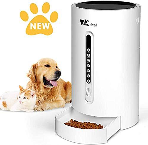 【2020進化版】自動給餌器 Amzdeal 自動餌やり器 猫 中小型犬用 ペット自動餌やり機 2WAY給電 タイマー式 録音可 最大16日連続自動給餌