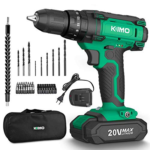 KIMO 電動ドライバー 電動ドリル ドリルドライバー インパクトドライバ 1台3役 穴開け・ネジ締め コードレス 充電式 20V 正逆転可能 無
