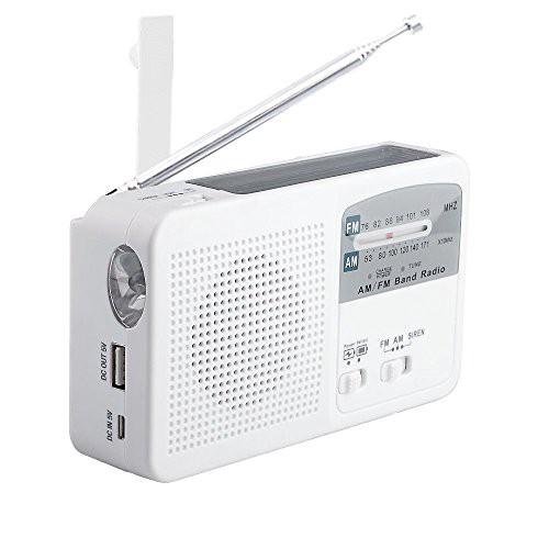 smart-life ポータブルラジオ FM/AM/対応 500MaH大容量バッテリー防災ラジオ ワイドFM対応ラジオ スマートフォンに充電可能 手回し充電/