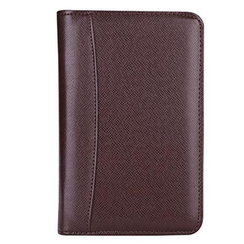 システム手帳 a5/a6メモ帳 ルーズリーフ バインダーノート 6穴 電卓搭載 ペンホルダー 名刺・カード入れケース付き 多機能ノートブック