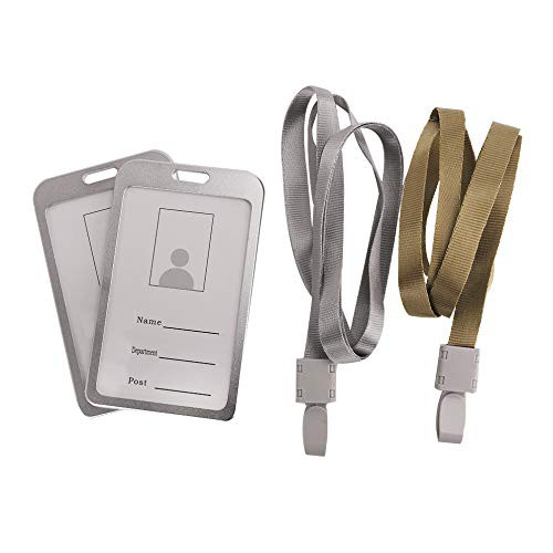 (xuguozhu)IDカードホルダー 縦 アルミ合金 ネックストラップ付き レディース メンズ 両面用 社員証/名札/定期入れ/パスケース 防水 高品