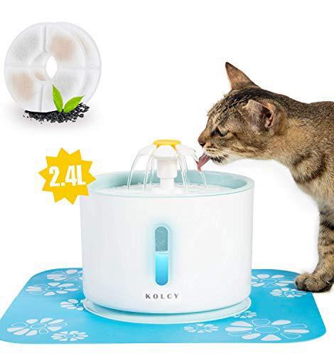 KOLCY ペット給水器 猫 犬 自動給水器 2.4L/80oz 大容量 水飲み器 ledライト 2つ活性炭フィルター付き BPAフリー 超静音 省エネル 循環式