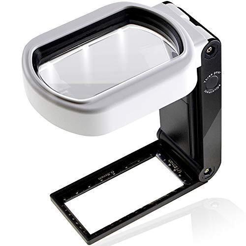 PhoenixLopue 手持ち スタンドルーペ【倍率10倍 25倍】2種類レンズ/LEDライト 6灯/ブラックライト 付き長期保証45日間拡大鏡 ルーペ