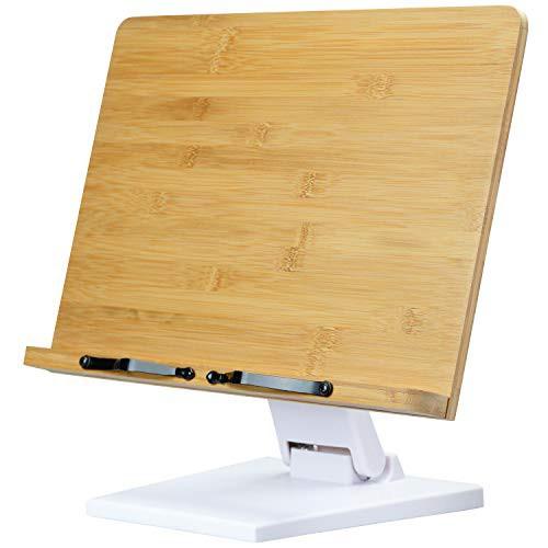 L.Y.F LAB ブックスタンド 書見台 読書台 本立て 木製 竹製 高さ調整可 角度調整可 卓上 勉強 コンパクト (白 33.7*24.0cm)