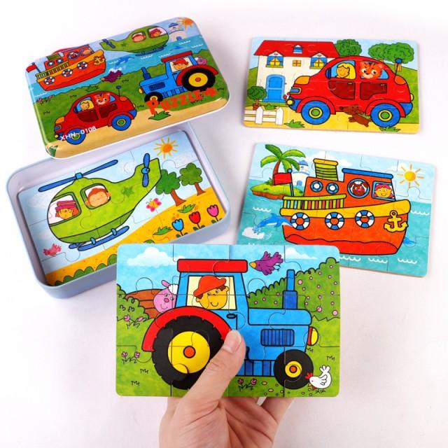 4-in-1木製パズル漫画パターン3Dジグソーパズル精神発達幼児玩具