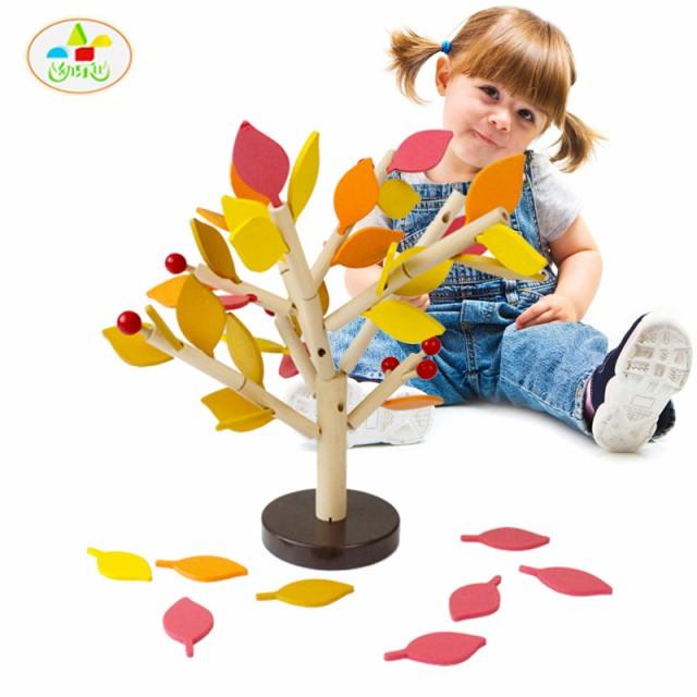 DIY 3D木製組み立て葉ビルディングブロックパズルおもちゃ幼児子供早期学習