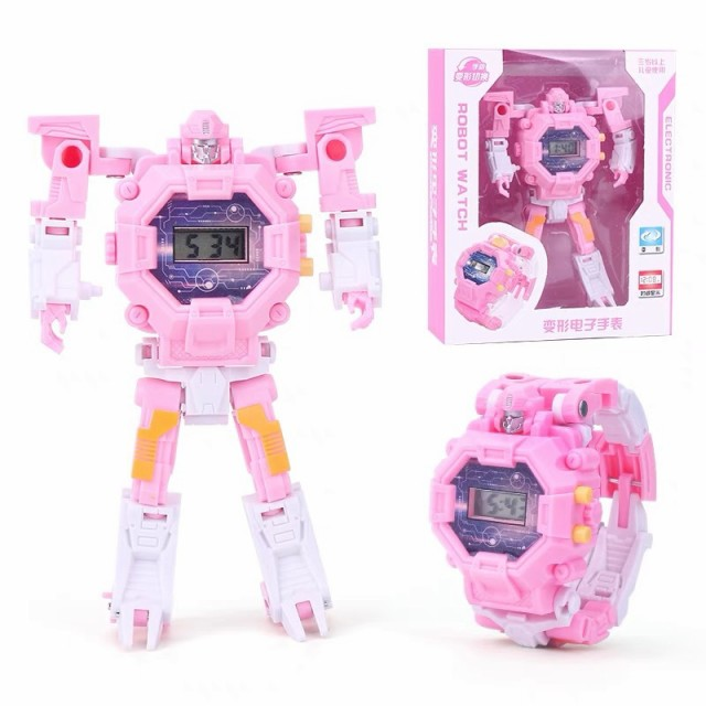 2 in 1 Robot Transformation Wristwatch Toyユニークな電子ロボット時計男の子用子供用スポーツウォッチおもちゃ