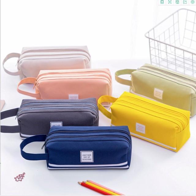 ペンケース 大容量 シンプルデザイン 筆箱 2層収納 学生用 社会人用 多機能 文具バッグ 子供 帆布 鉛筆ホルダー 韓国 防水 女子 可愛い