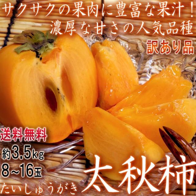 太秋柿 たいしゅうかき 約3.5kg 8〜16玉入り 茨城県産中心 訳あり品 家庭用 サクサクの果肉と豊富な果汁!高糖度の完全甘柿