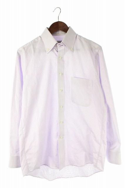 マリクレール MARIE CLAIRE ドレスシャツ ボタンダウン ドット 長袖 L 紫 メンズ