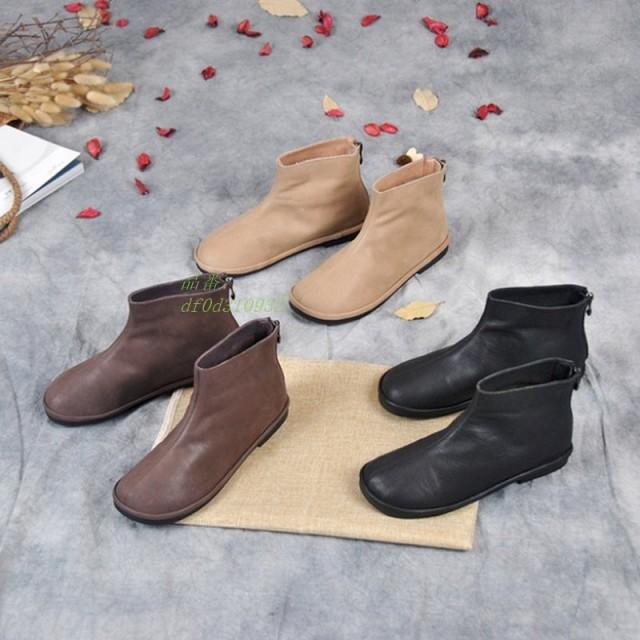 本革ブーツ レディース ショート 牛革幅広 歩きやすい ローヒール ショートブーツ ミセス コンフォート