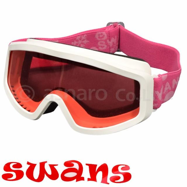 SWANS子供用スキー・スノーボード用ゴーグル白-ピンク
