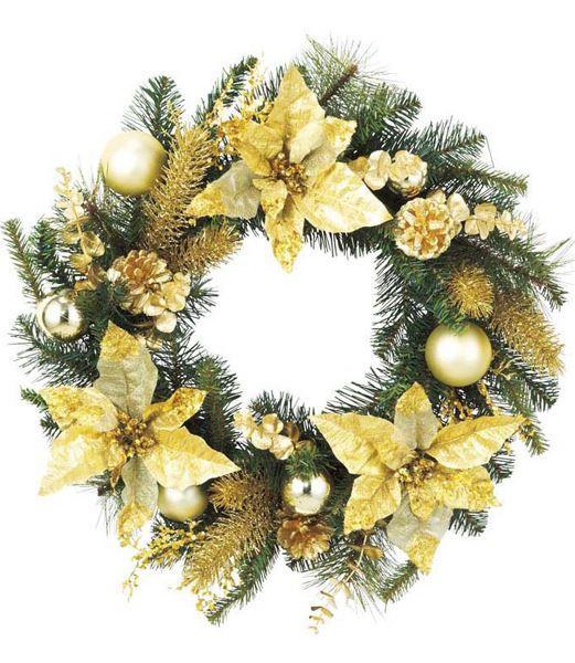 クリスマスリース 造花 フラワー 装飾45cm ゴールドポインセチアパインリース [DIWR61008]