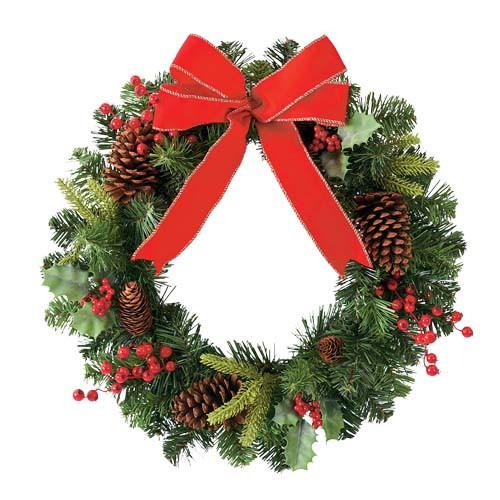 クリスマスツリー 造花 フラワー 観葉植物 防炎50cmレッドリボンベリーパインリース [DIWR61016]