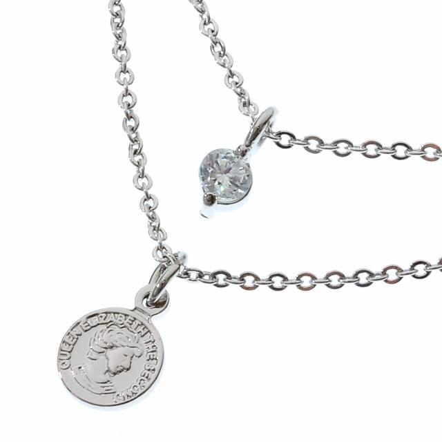 ラインストーンとコインのスタイリッシュなネックレス シルバーカラー[392aln]