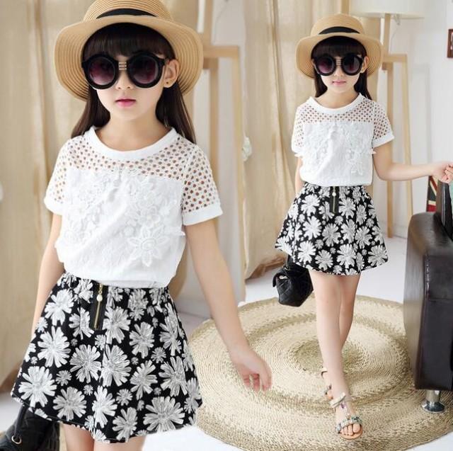 キッズ ワンピース チュニック 半袖 韓国子供服 女の子 ワンピ 花柄 トップス+ミニスカート2点セット 子ども服 メシュ tシャツ 白ワンピ