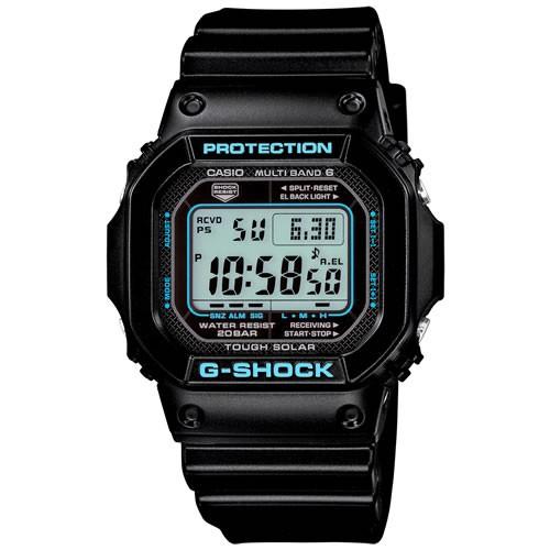 カシオ Gショック CASIO G-SHOCK 5600 電波 ソーラー 電波時計 腕時計 メンズ ブラック×ブルー デジタル GW-M5610BA-1JF