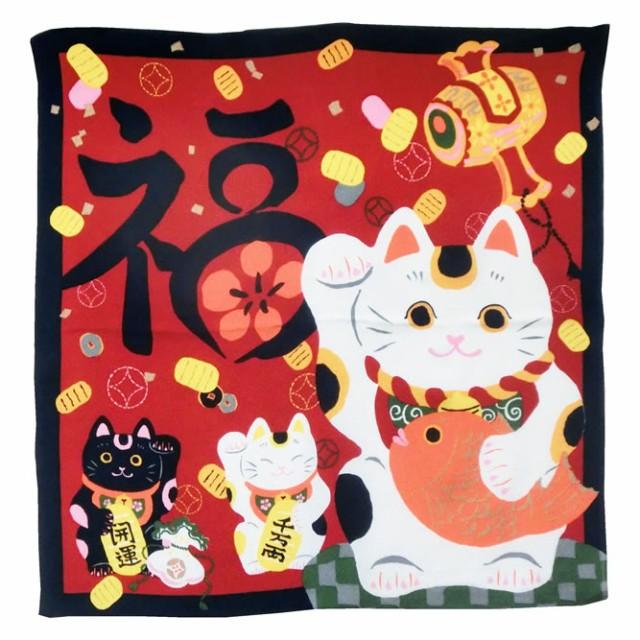 お祝い用 縮緬風呂敷(福招き猫) お米5kg袋サイズに対応した風呂敷です。 贈答対応可能(68cmx68cm) (投函便・メール便 送料無料)