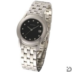 グッチ 5505M 腕時計 11Pダイヤ ブラック文字盤