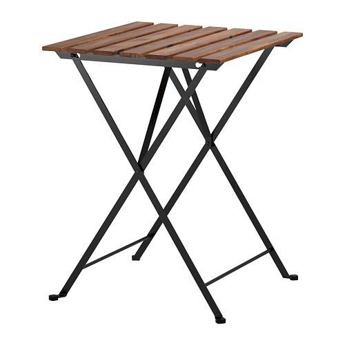 送料無料【IKEAイケア】TARNOテーブル 屋外用 折りたたみ式 アカシア材【ブラック/グレーブラウンステイン スチール】