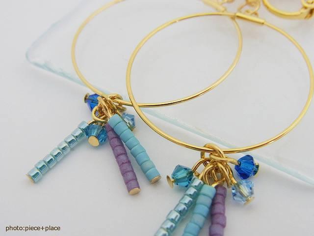 華奢フープ&カラフルビーズのイヤリング イアリング 日本製