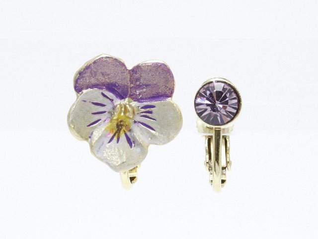 日本製 アシンメトリー 一粒ストーン&水彩風のお花のネジバネ式イヤリング イアリング