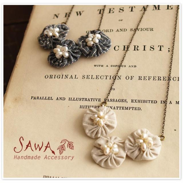 10%OFFクーポン 【SAWA サワ】 オーガニックコットン 丸モチーフと淡水パールのネックレス・3つタイプ (te-n)