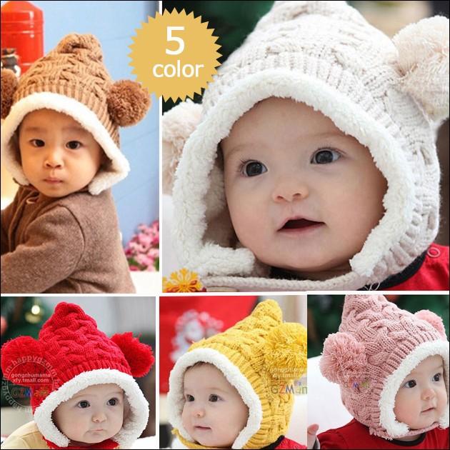 【送料無料】 帽子 ニット キッズ ニット帽 ボンボン 子供帽子 ニット帽子 とんがり帽子 耳あて付 ベビー 子供 児童 可愛い 秋 冬 同梱