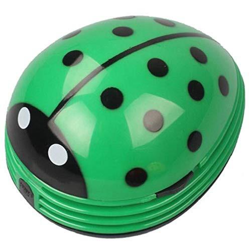 ミニポータブルハンドヘルドコードレス卓上パン粉掃除機デスクトップダスト掃除機かわいいカブトムシてんとう虫電池式 (グリーン)